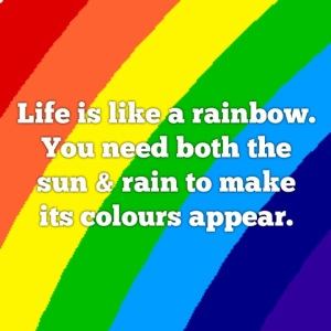 Visualise all the positive things you have in your life when you see a rainbow.